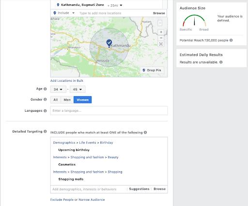 Facebook location Kathmandu